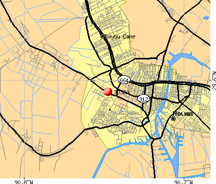 Houma, LA (70360) map