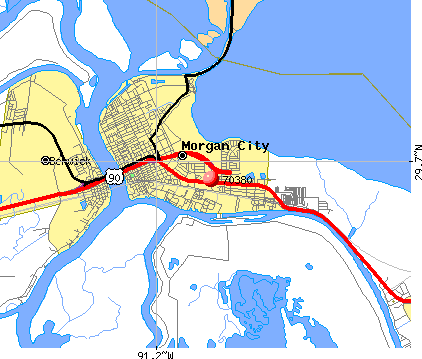 Morgan City, LA (70380) map