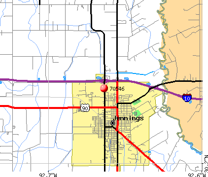 Jennings, LA (70546) map
