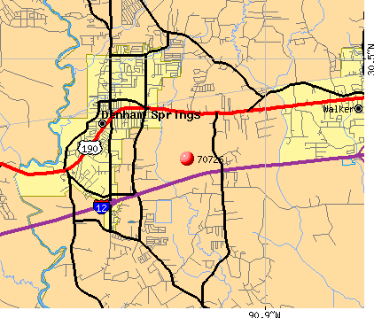 Denham Springs, LA (70726) map