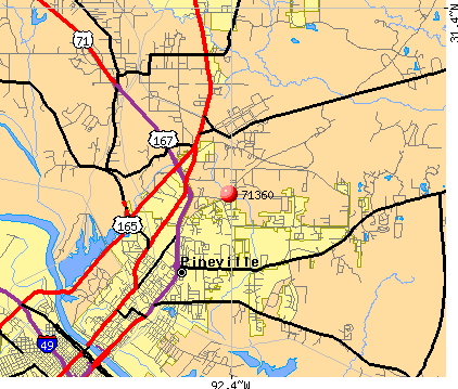 Pineville, LA (71360) map