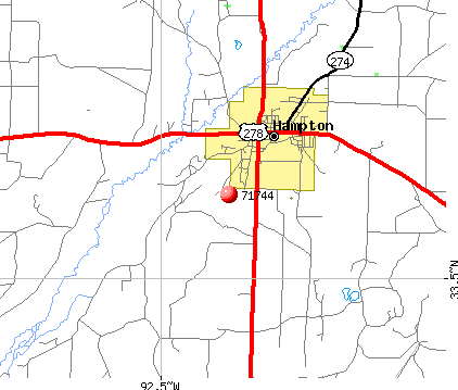 Hampton, AR (71744) map