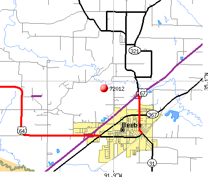 Beebe, AR (72012) map