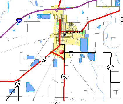 Brinkley, AR (72021) map