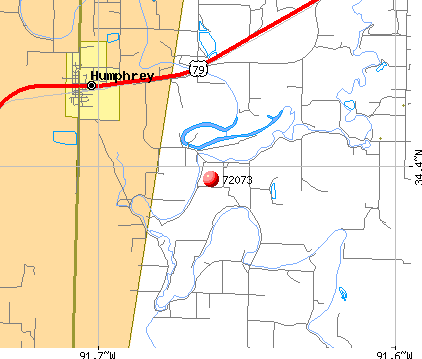Humphrey, AR (72073) map