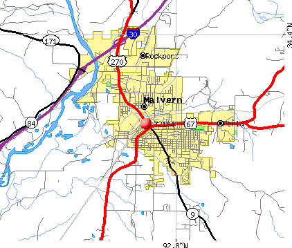 Malvern, AR (72104) map