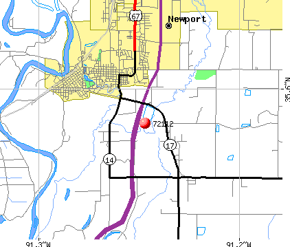 Newport, AR (72112) map