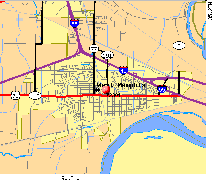 West Memphis, AR (72301) map