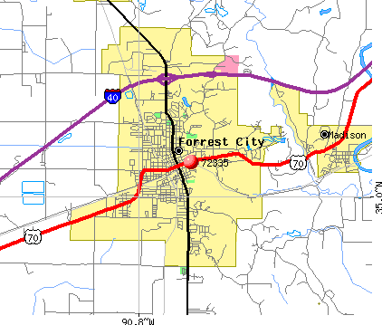Forrest City, AR (72335) map