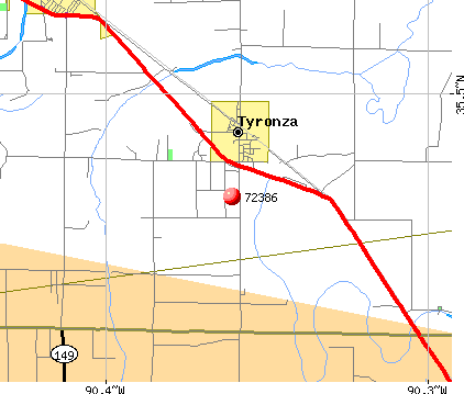 Tyronza, AR (72386) map