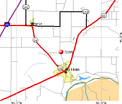Wilson, AR (72395) map