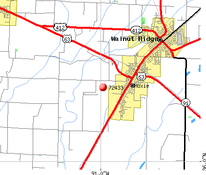 Hoxie, AR (72433) map