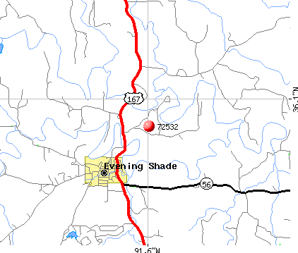 Evening Shade, AR (72532) map