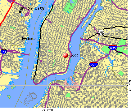 New York, NY (10009) map