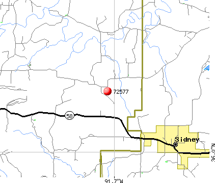 Sidney, AR (72577) map