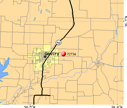 Highfill, AR (72734) map