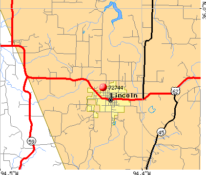 Lincoln, AR (72744) map