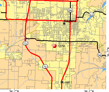 Rogers, AR (72758) map