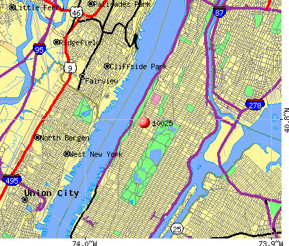 New York, NY (10025) map