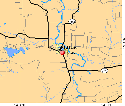 Midland, AR (72945) map