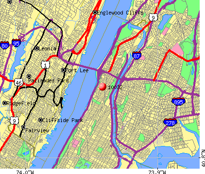 New York, NY (10032) map
