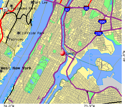 New York, NY (10035) map