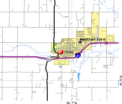 Weatherford, OK (73096) map