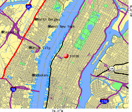 New York, NY (10036) map