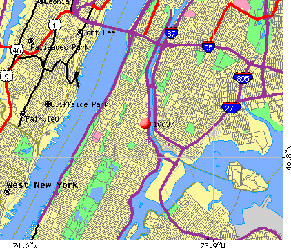 New York, NY (10037) map