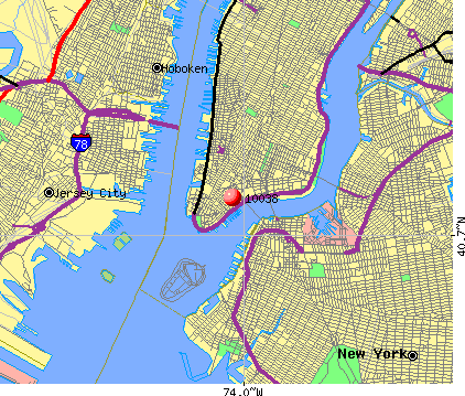 New York, NY (10038) map