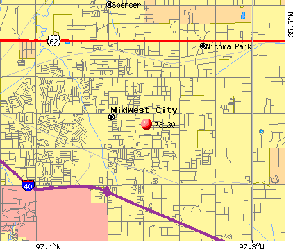 Midwest City, OK (73130) map