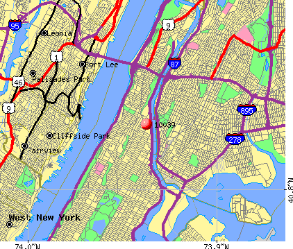 New York, NY (10039) map