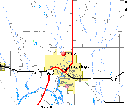 Tishomingo, OK (73460) map