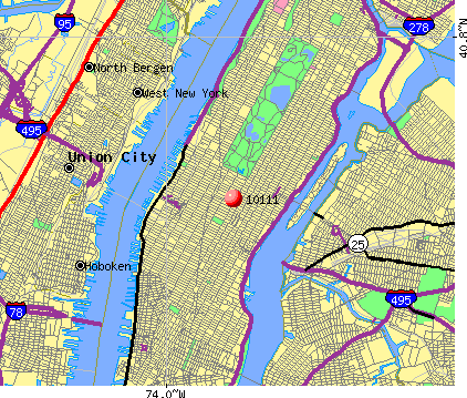 New York, NY (10111) map
