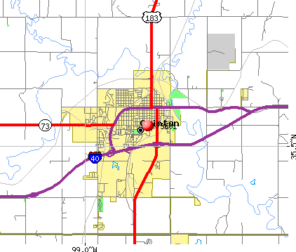 Clinton, OK (73601) map