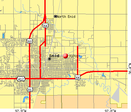 Enid, OK (73701) map