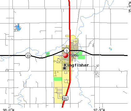 Kingfisher, OK (73750) map