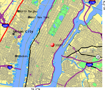 New York, NY (10167) map