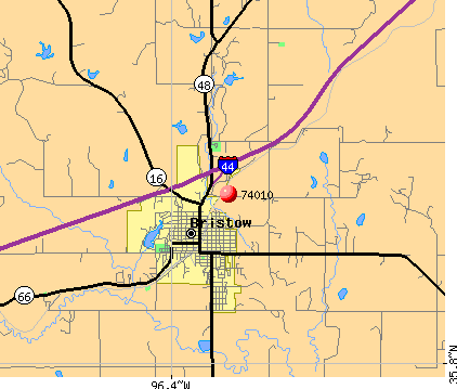 Bristow, OK (74010) map