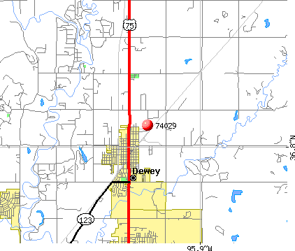 Dewey, OK (74029) map