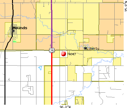 Liberty, OK (74047) map