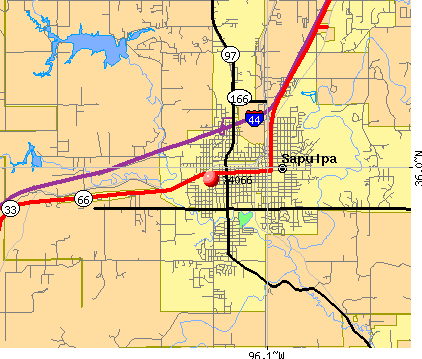 Sapulpa, OK (74066) map