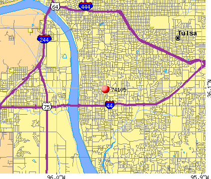 Tulsa, OK (74105) map