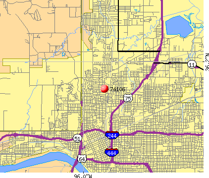 Tulsa, OK (74106) map