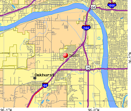 Tulsa, OK (74107) map