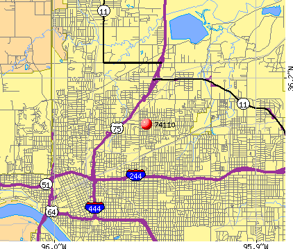 Tulsa, OK (74110) map
