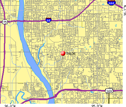 Tulsa, OK (74136) map