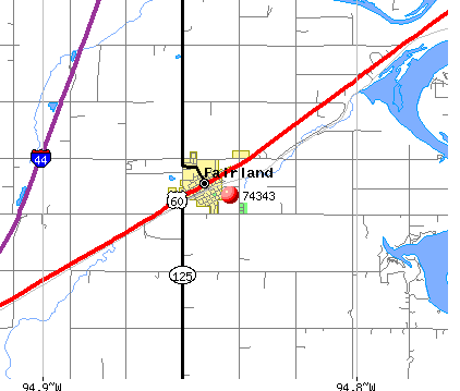 Fairland, OK (74343) map