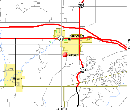 Flint Creek, OK (74347) map