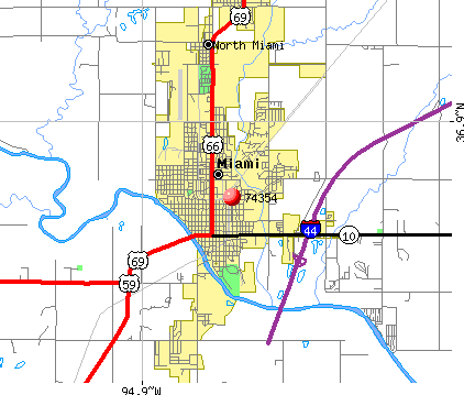 Miami, OK (74354) map